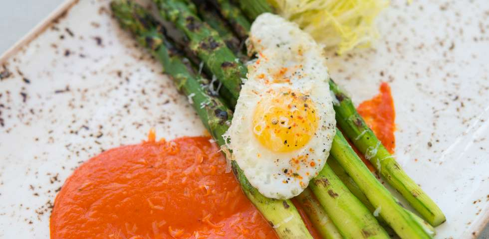 Close up view of the grilled jumbo asparagus dish