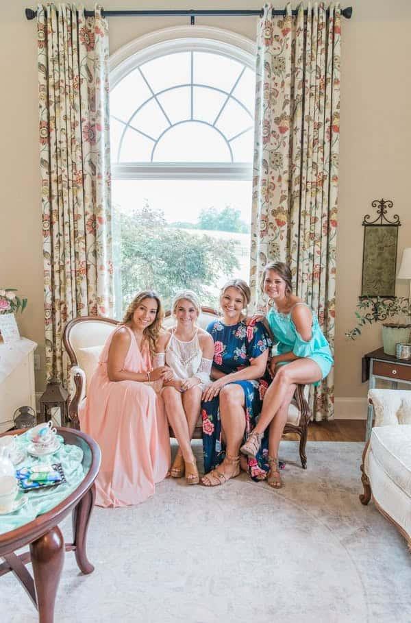 bridal party sitting