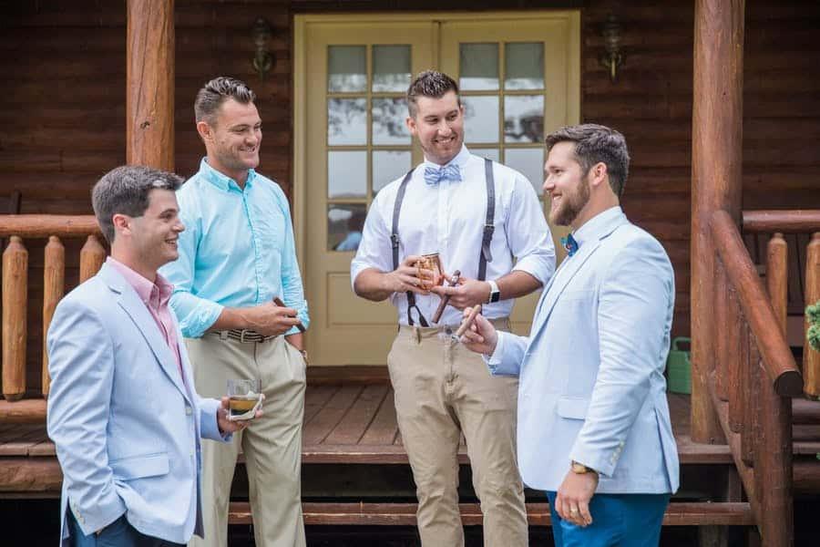 groomsmen and groom