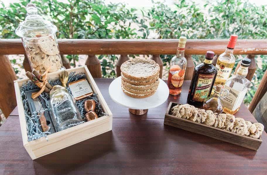 groom basket, desserts, and liquor