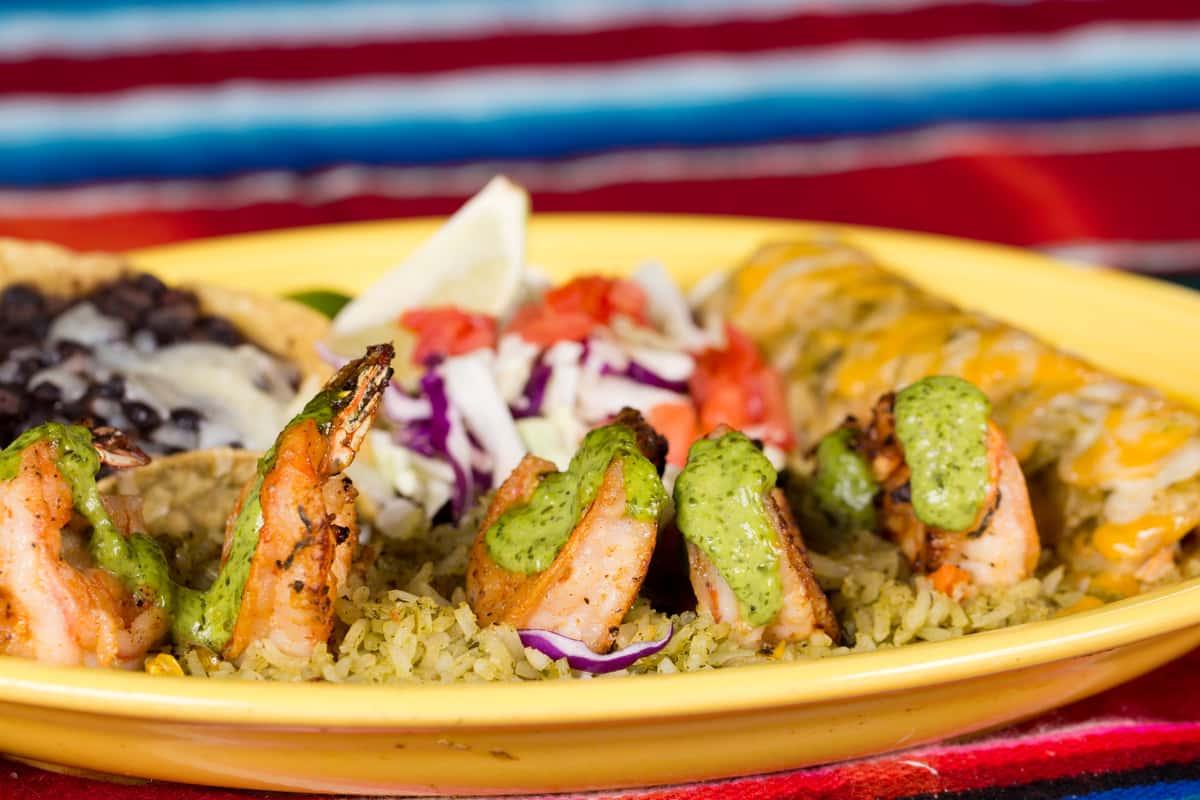Cilantro Shrimp and Enchilada Combo