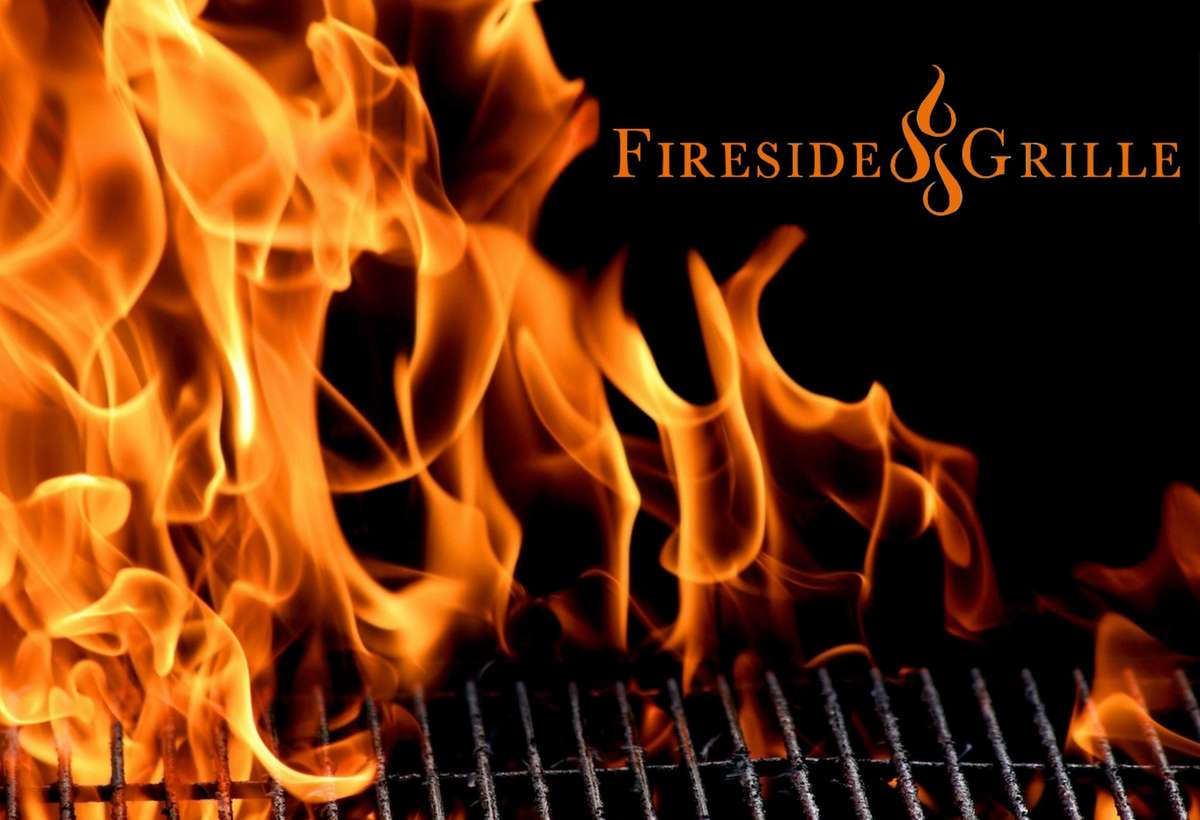 Fireside Grille logo over an open flame
