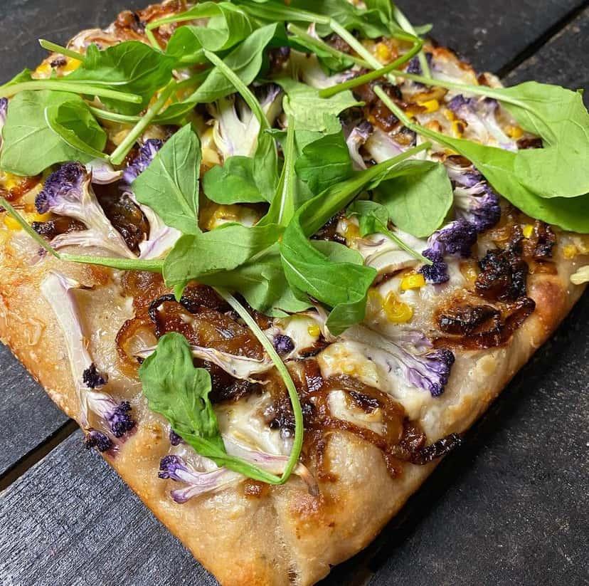 Sourdough pizza with arugla