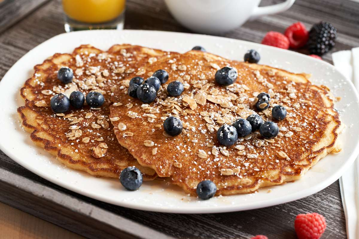 Blueberry Granola Power Crunch Pancakes