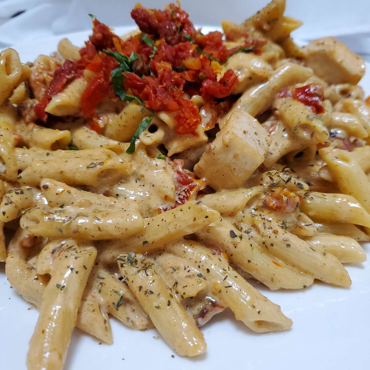 Basil Cream Chicken Penne Pasta