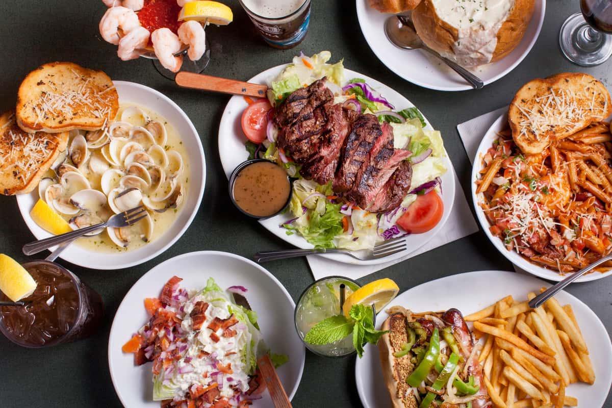 Steak, Pasta, Fries, Salad