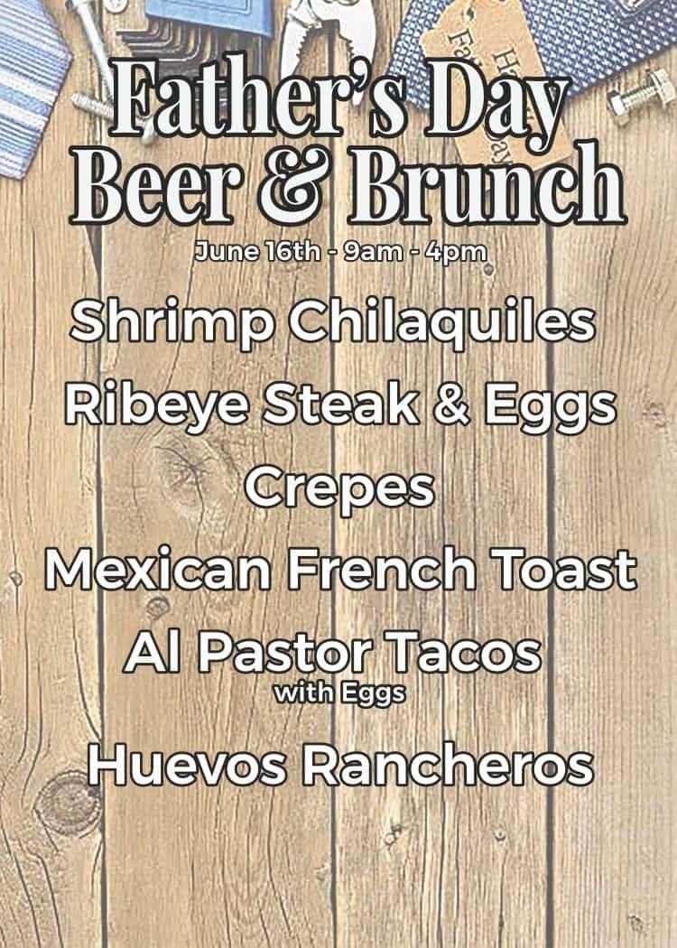 Fathers Day brunch menu