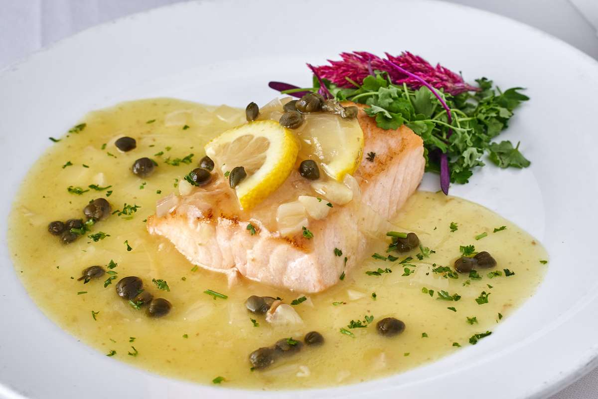 Baked Salmon with lemon Caper Sauce