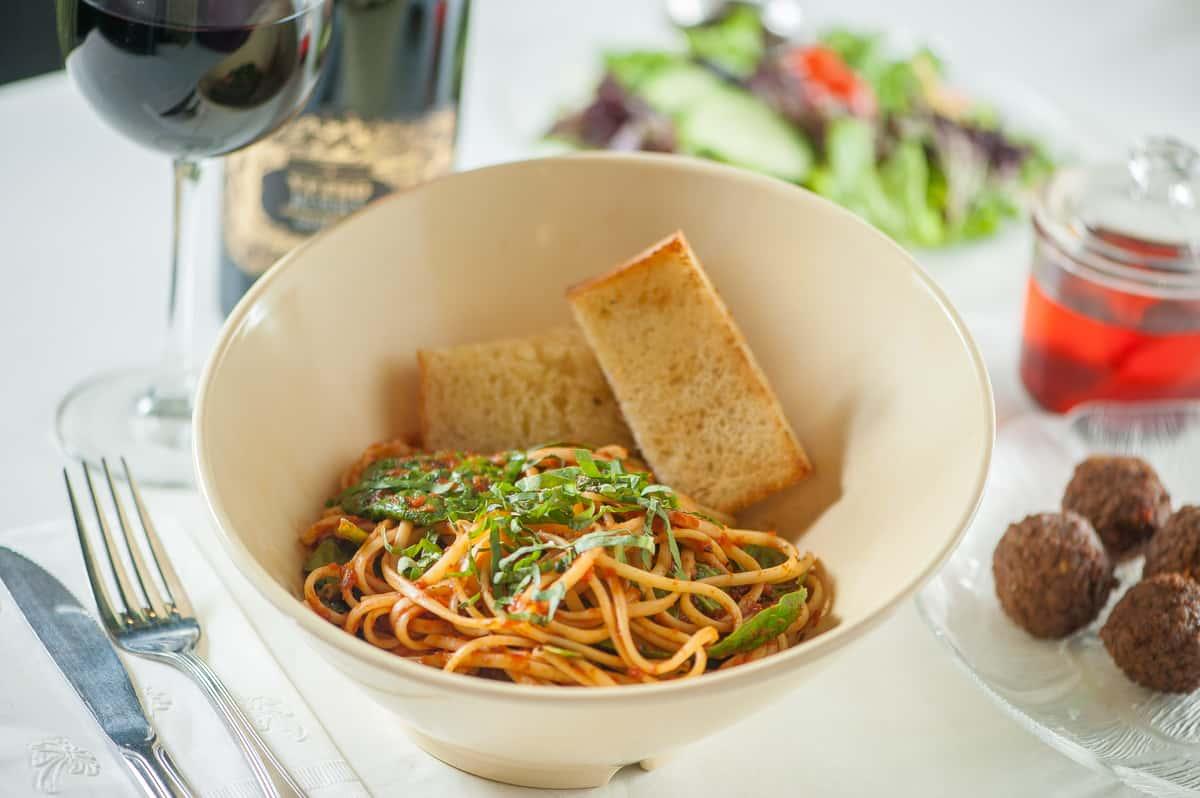 Pasta Marinara with Spinach