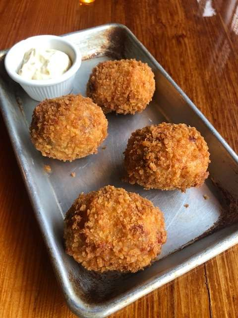 Smoked Ham, cheddar cheese and Potato Croquettes
