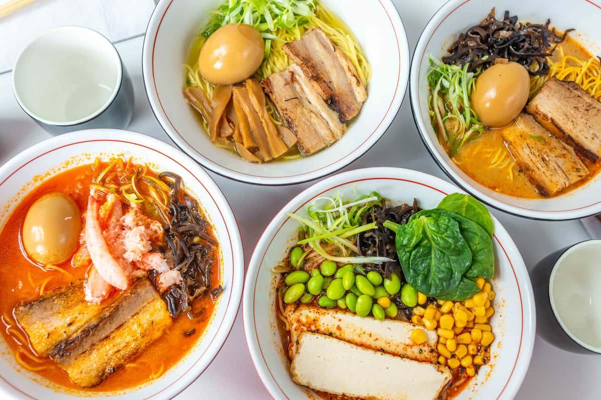 Variety of ramen meals by Ramen Nagomi