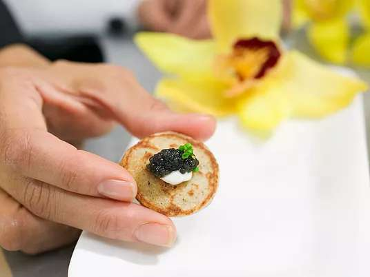 holding appetizer