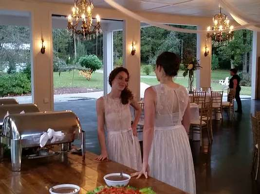 two women in dining hall