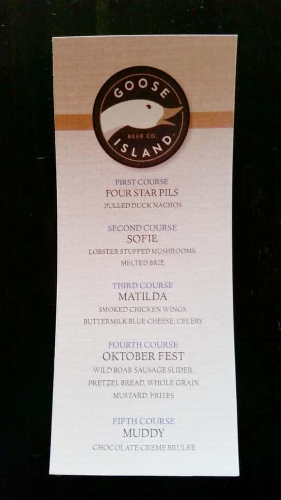 Goose Island beer menu