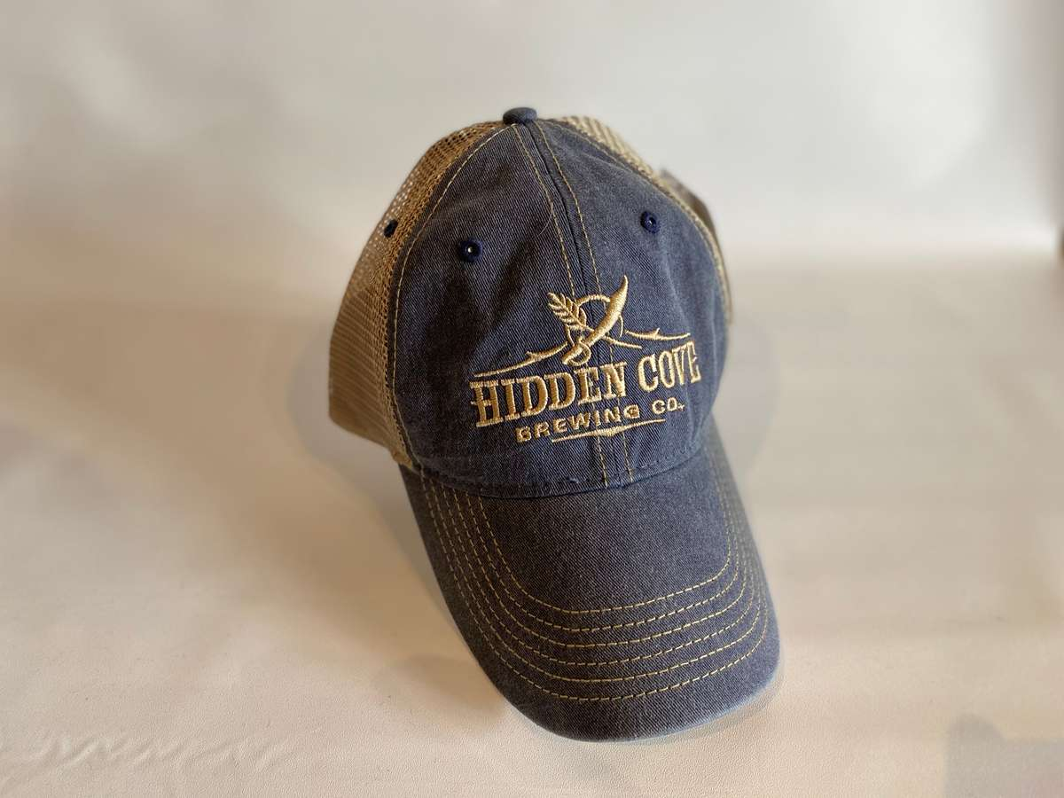 Tan and Navy Trucker hat
