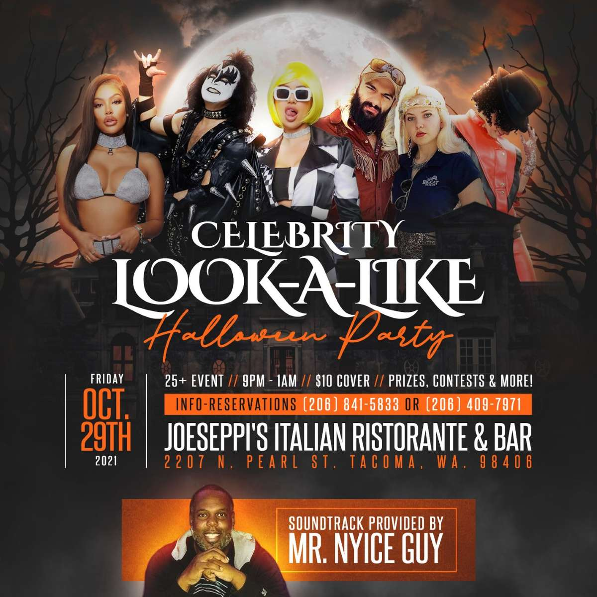 Celebrity Look-a-Like Halloween Party live at Piacere, the Lounge at Joeseppi's Italian Ristorante in Tacoma, WA