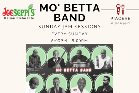 Mo' Betta Band hosting Sunday Jam Sessions at Piacere, the Lounge at Joeseppi's Italian Ristorante in Tacoma, WA