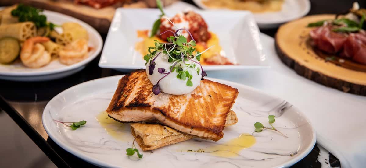 Salmon with ratatouille & Burata