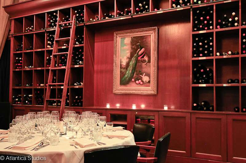 wine selection with table