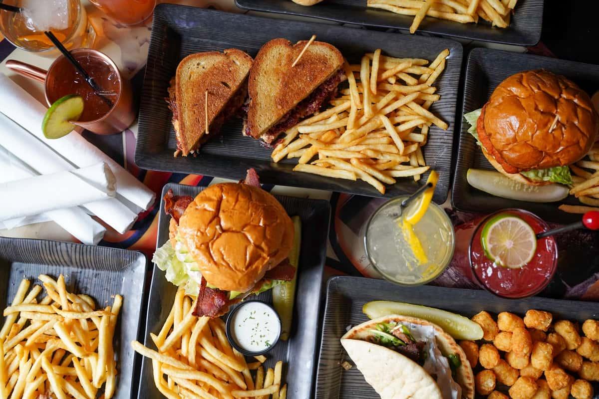 multiple plates of food
