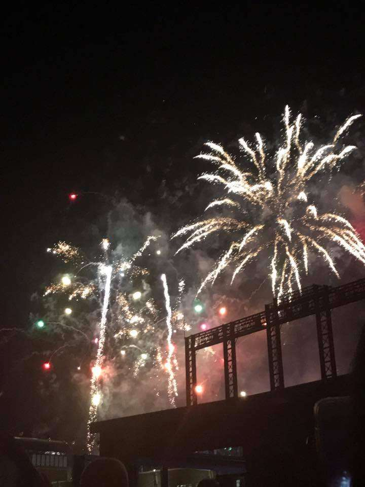 fireworks over roof