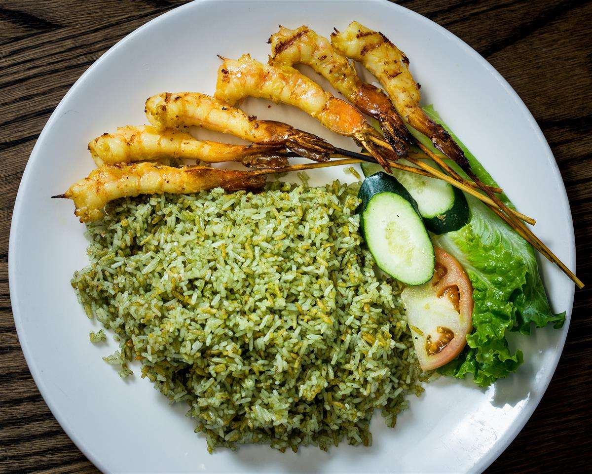 Spicy Thai Basil Rice with Grilled Shrim