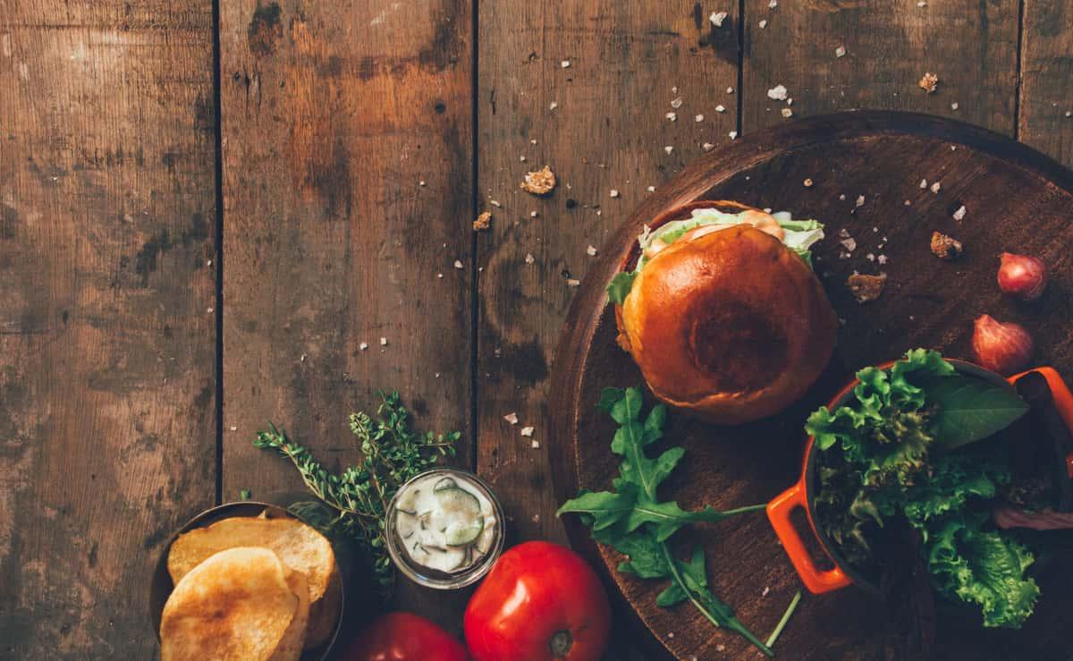 Food on wood background