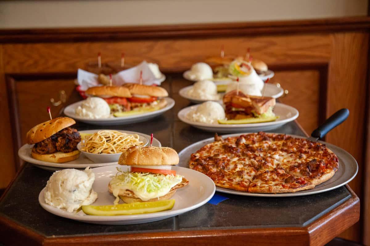 sandwiches, pizzas, burgers