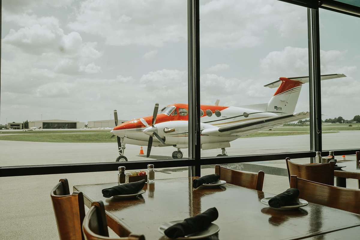 table with view of runway