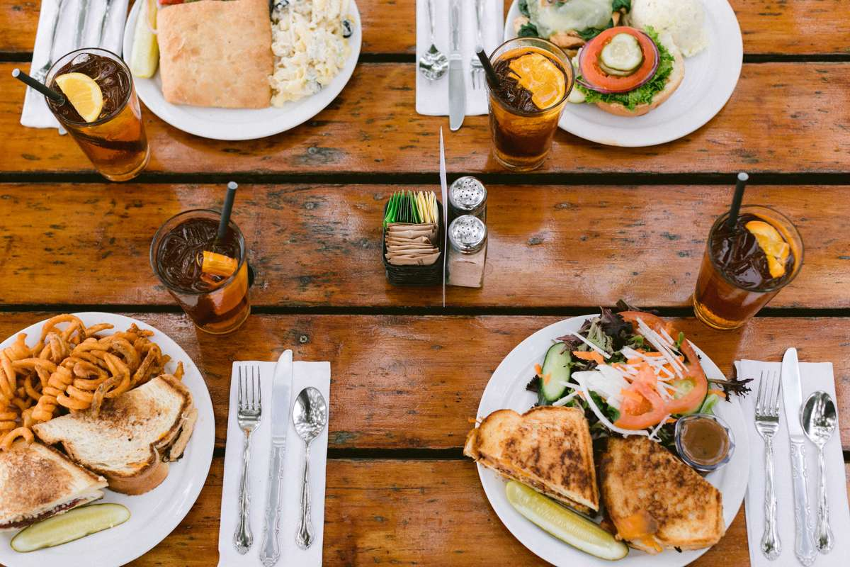 food on wooden table