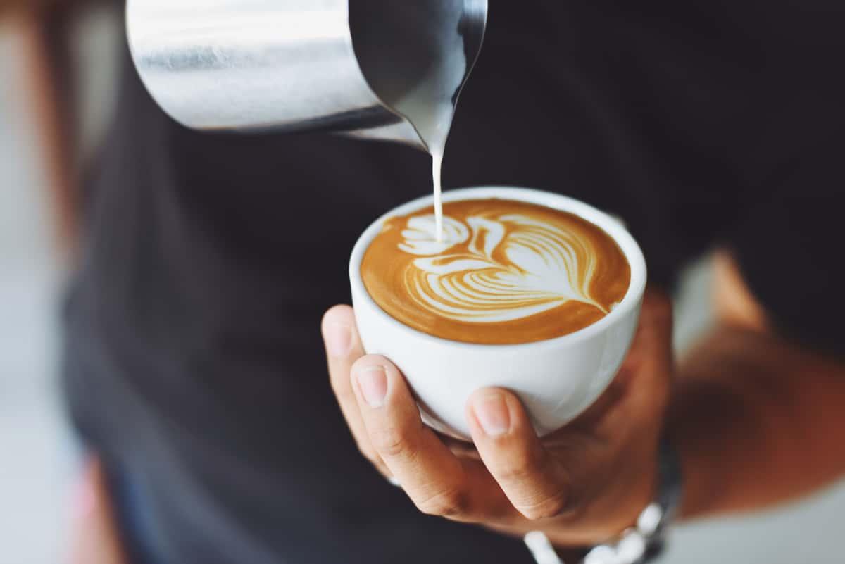 pouring a latte