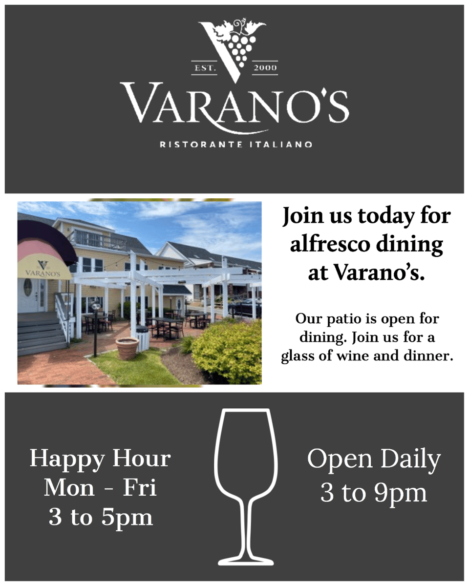 Join us today for dining alfresco at Varano's.  Our patio is open for dining from 3 to 9pm daily.