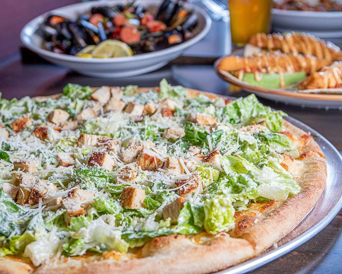 Grilled Chicken Caesar Salad Pizza