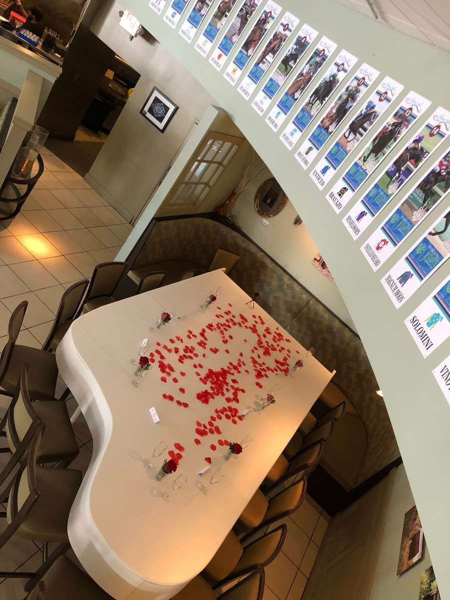 table with rose petals