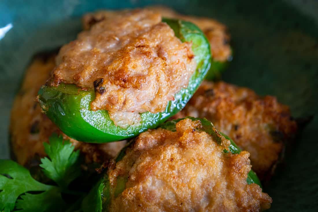 Bell Pepper stuffed with fishcake, shrimp and pork (2 pcs per order)