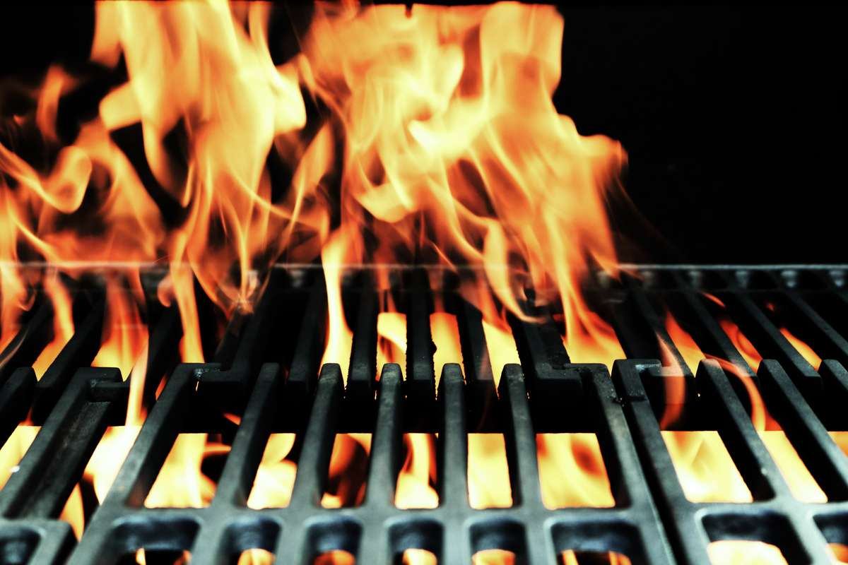 stock fire on grill