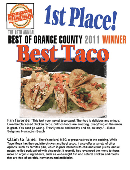 Best of Orange County 2011 Winner Best Taco