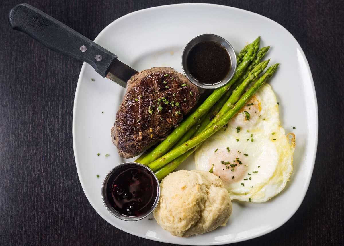 *Cowboy Grilled Filet Mignon w/ 2 Eggs, Potatoes, Asparagus & Homemade Worcestershire Sauce