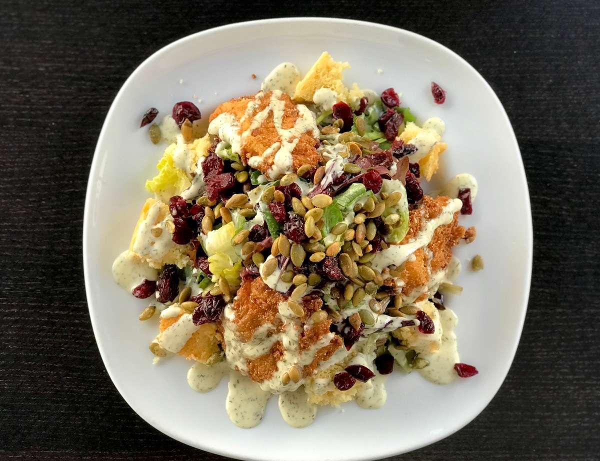 Fried Chicken Salad w/ Cornbread, Dried Cranberries,Pumpkin Seeds & Herb Buttermilk Dressing