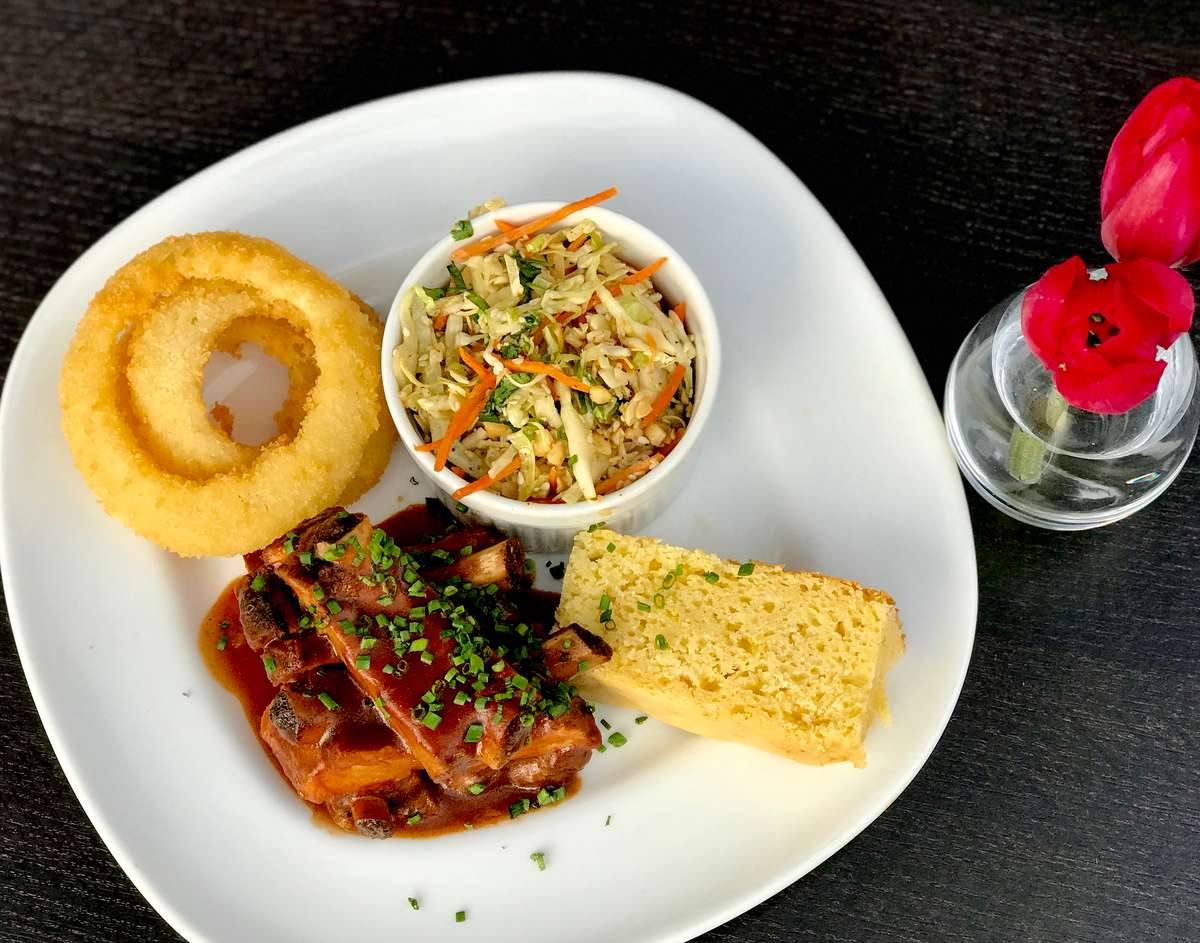 Barbeque Baby Back Ribs w/ Fried Onion Rings & Sesame Peanut Coleslaw