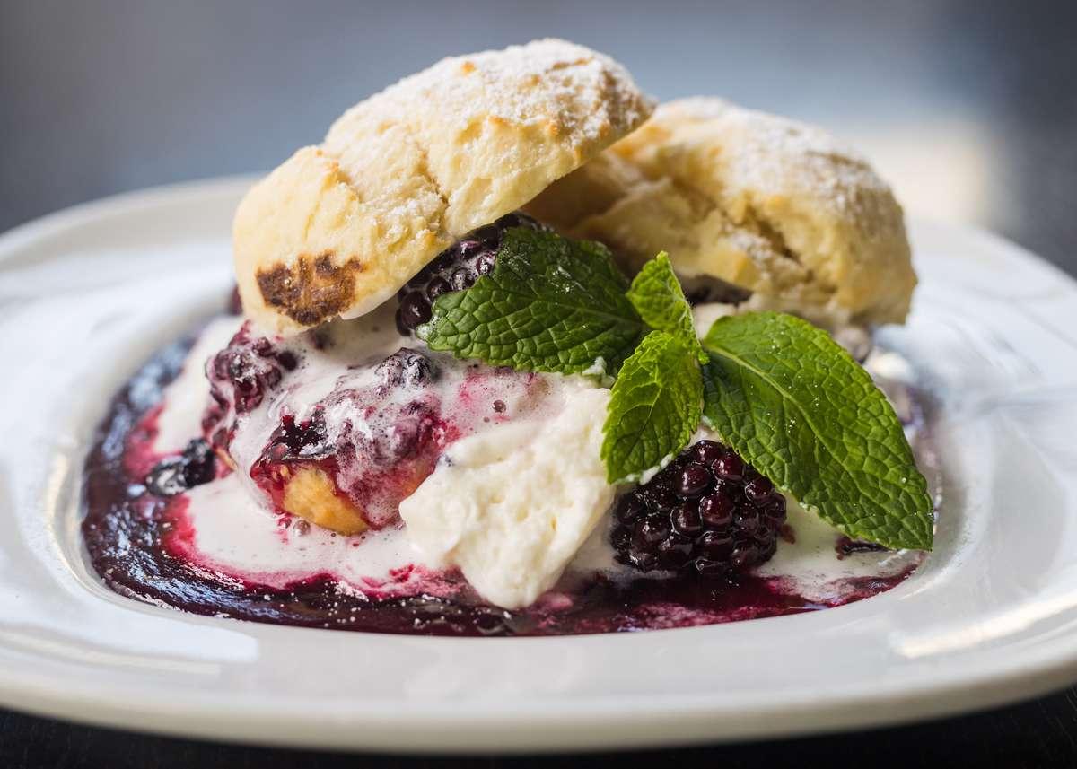 Jumbleberry Shortcake w/ Warm Buttermilk Biscuit, Fresh Whip Cream & Powdered Sugar