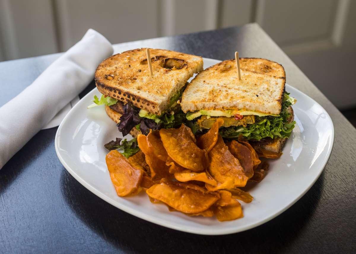 Fried Green Tomato, Applewood Smoked Bacon & Avocado BLT w/ Sweet Potato Chips