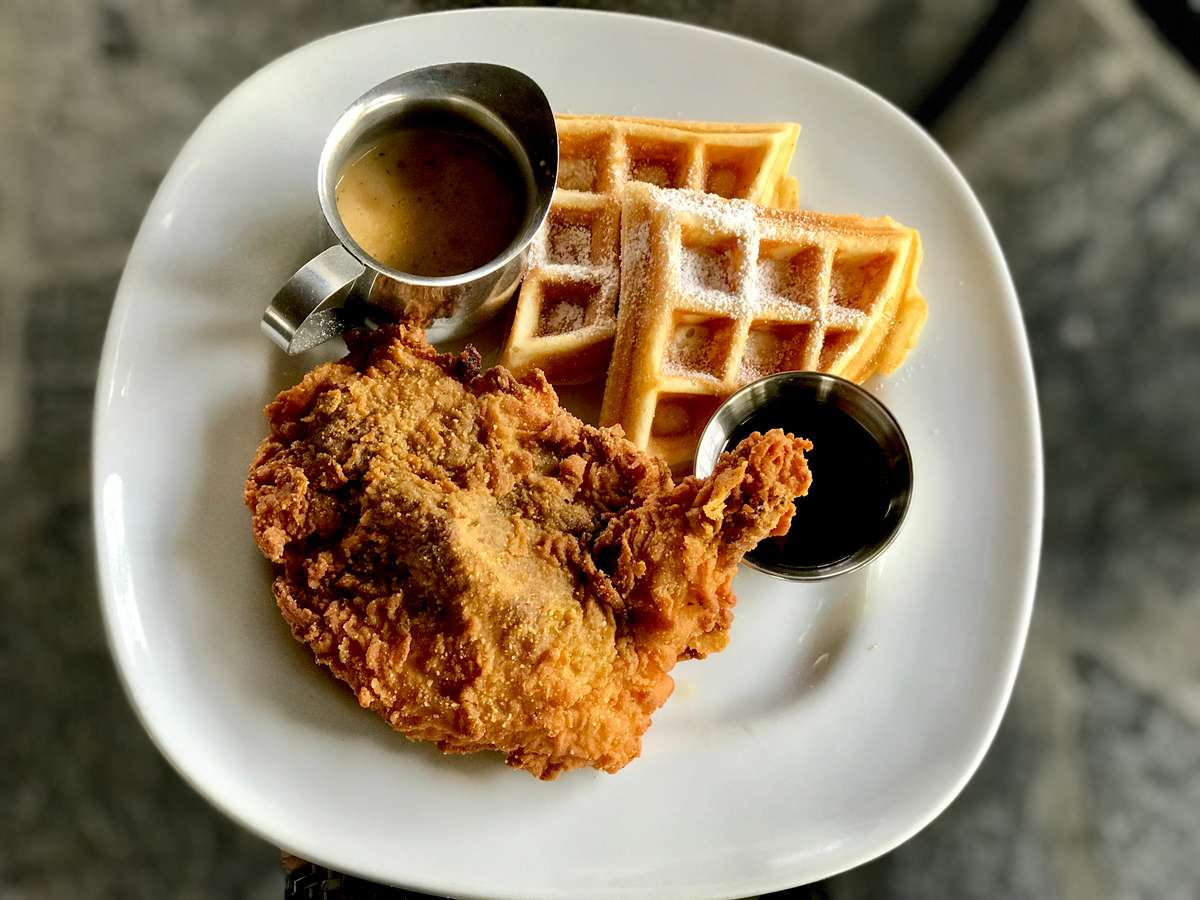 """Waffle Lady's Crispy Fried """"Free Range"""" Chicken 'n Waffles w/ Pan Gravy and Real Maple Syrup"""