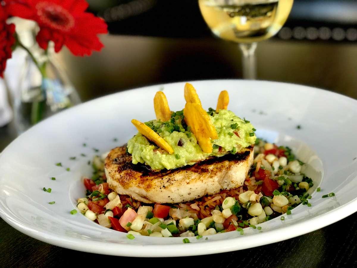 *Grilled Swordfish w/ Chili Style Black Bean Puree, Red Rice, Roasted Corn Salsa & Guacamole