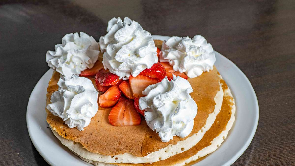 Large Double Stack Pancakes & Strawberries