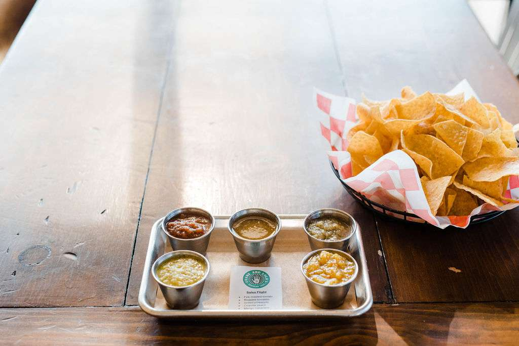 Chips and a Flight of Five Salsas