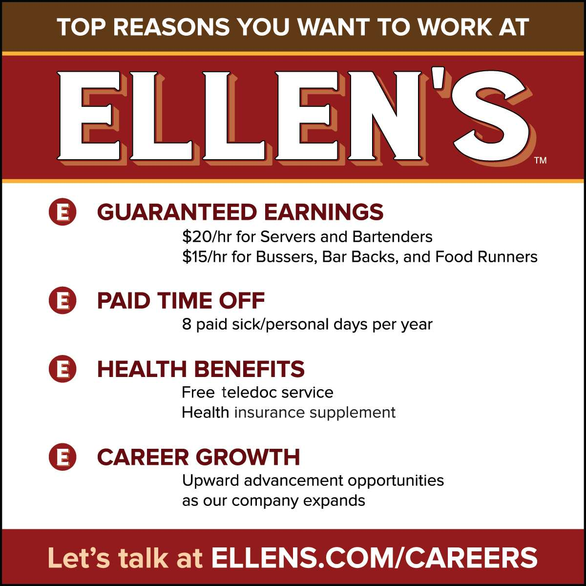 Work with us at Ellen's!