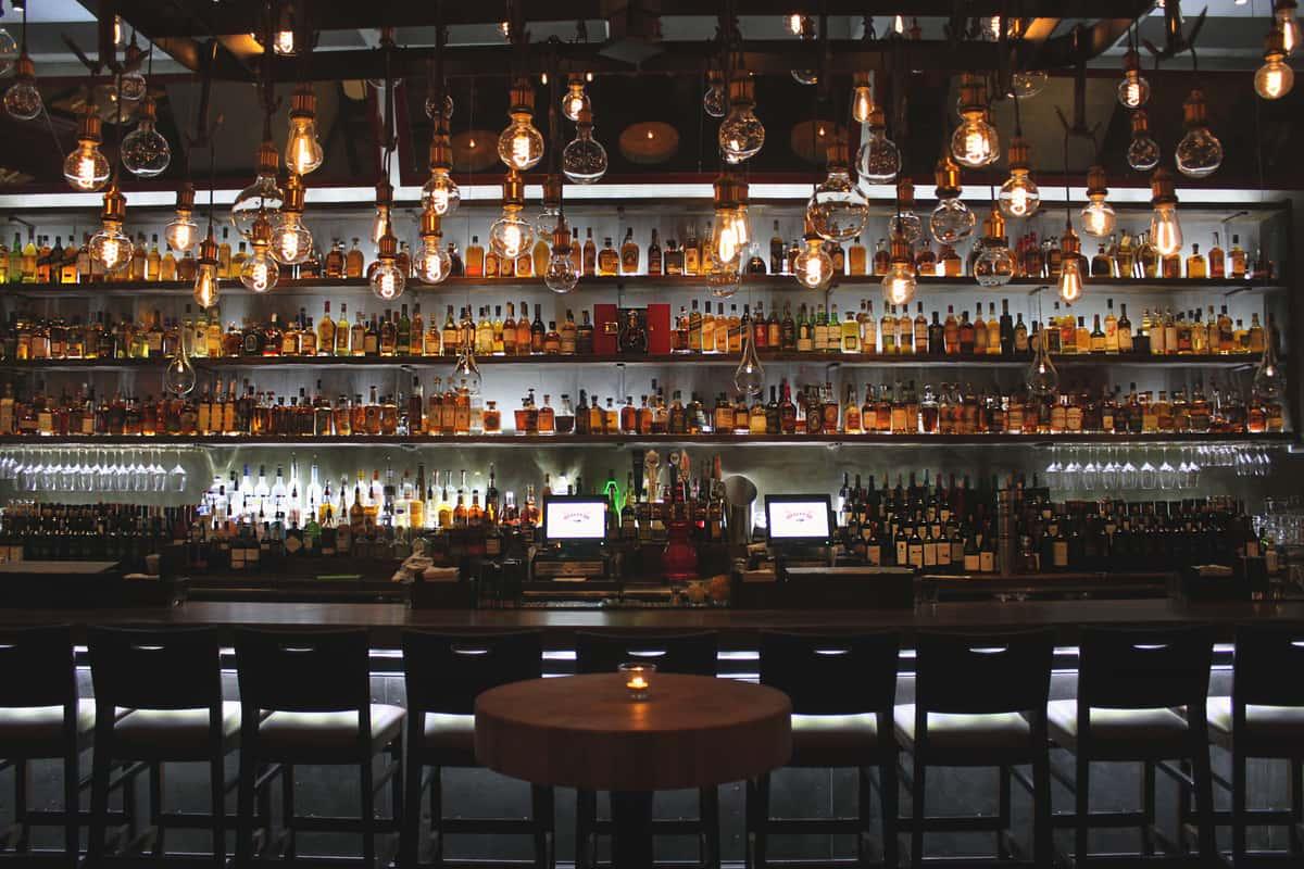 wine bottle on the bar