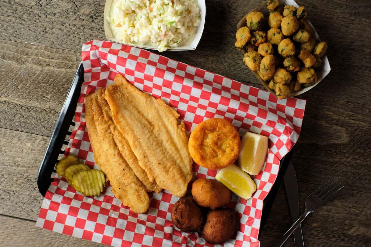 Catfish Platter + 2 Sides & Bread