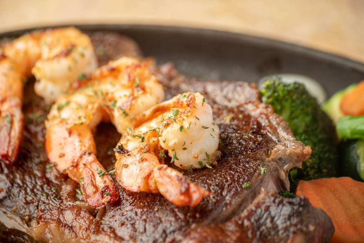 Grilled Ribeye With 3 Jumbo Shrimp